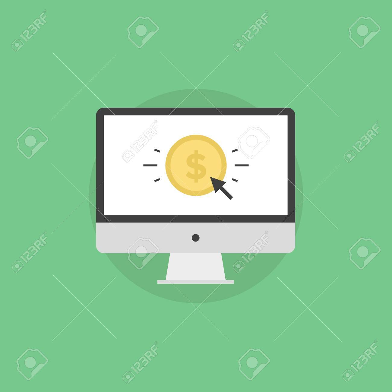 Online money making, success internet business, e-commerce payment, finance transfer and transaction. Flat icon modern design style vector illustration concept.